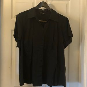 24W Black Style & Co Short Sleeve Button Down